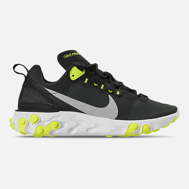 Right view of Women's Nike React Element 55 Casual Shoes in Black/Volt/Cool Grey/White
