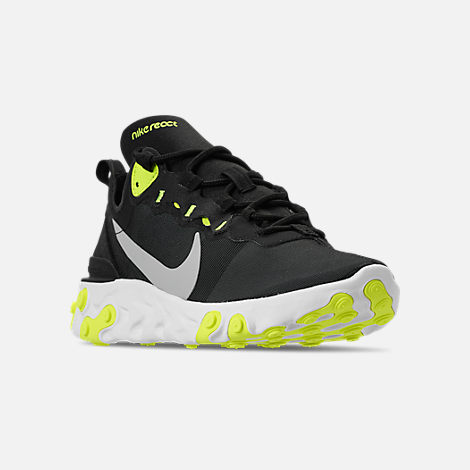 Three Quarter view of Women's Nike React Element 55 Casual Shoes in Black/Volt/Cool Grey/White