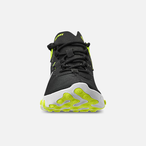 Front view of Women's Nike React Element 55 Casual Shoes in Black/Volt/Cool Grey/White