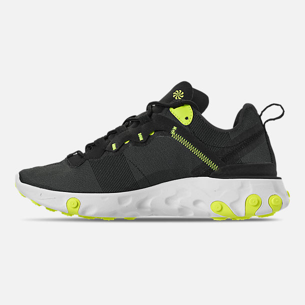 Left view of Women's Nike React Element 55 Casual Shoes in Black/Volt/Cool Grey/White