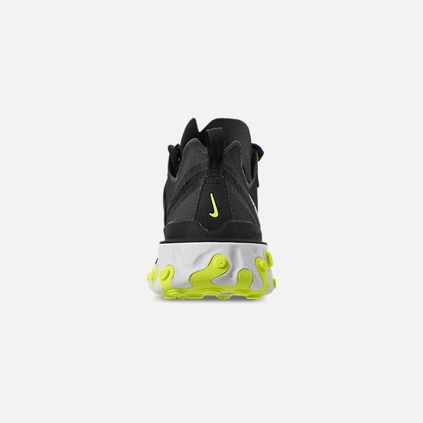 Back view of Women's Nike React Element 55 Casual Shoes in Black/Volt/Cool Grey/White