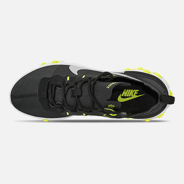 Top view of Women's Nike React Element 55 Casual Shoes in Black/Volt/Cool Grey/White