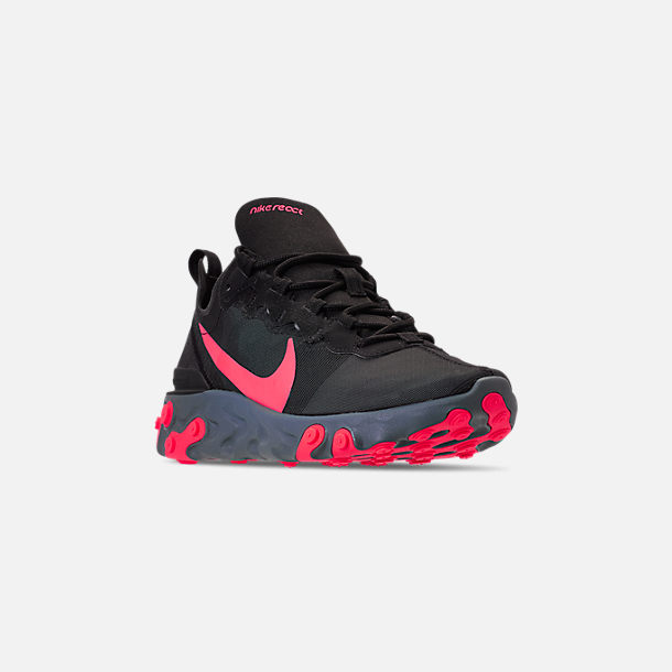 Three Quarter view of Women's Nike React Element 55 Casual Shoes in Black/Solar Red/Cool Grey/Dark Grey
