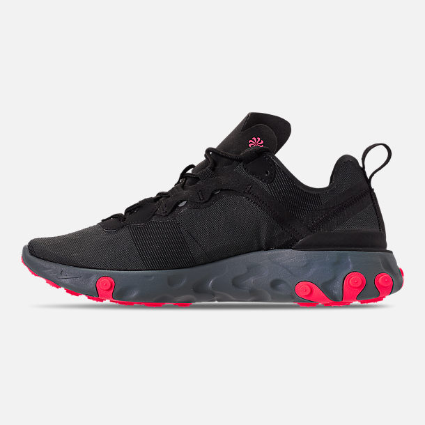 Left view of Women's Nike React Element 55 Casual Shoes in Black/Solar Red/Cool Grey/Dark Grey