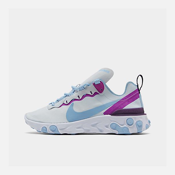 Right view of Women's Nike React Element 55 Casual Shoes in Wolf Grey/Laser Fuchsia/Hyper Crimson