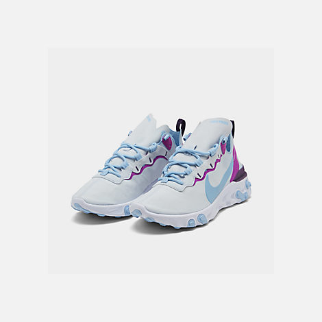 Three Quarter view of Women's Nike React Element 55 Casual Shoes in Wolf Grey/Laser Fuchsia/Hyper Crimson