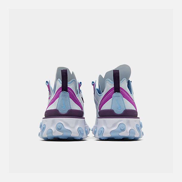 Left view of Women's Nike React Element 55 Casual Shoes in Wolf Grey/Laser Fuchsia/Hyper Crimson