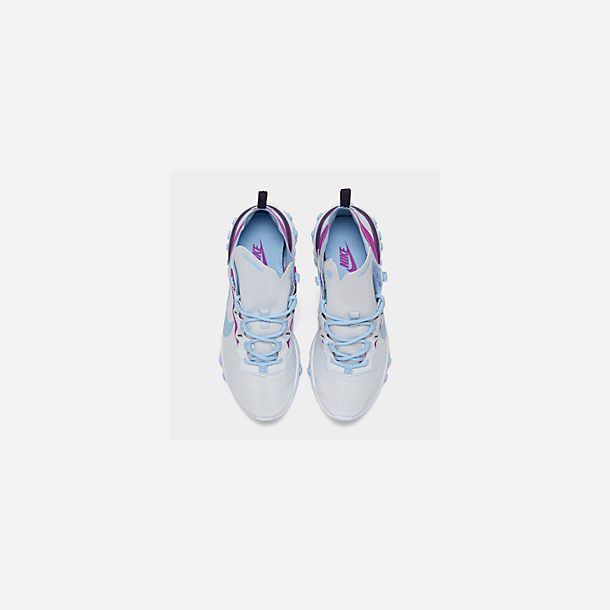 Back view of Women's Nike React Element 55 Casual Shoes in Wolf Grey/Laser Fuchsia/Hyper Crimson
