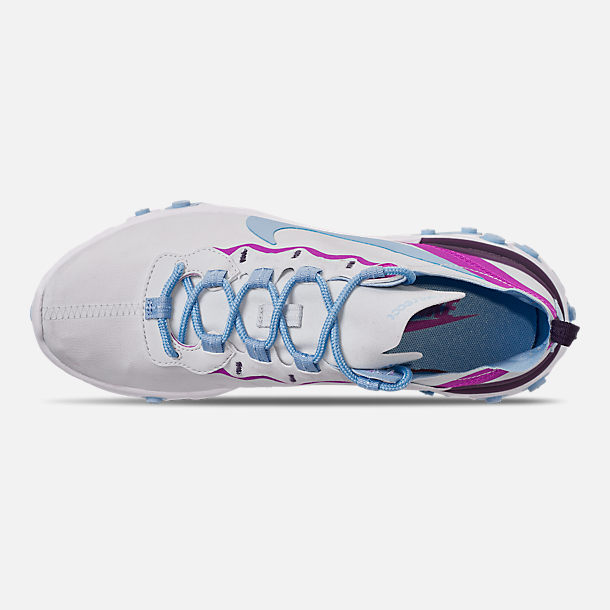Top view of Women's Nike React Element 55 Casual Shoes in Wolf Grey/Laser Fuchsia/Hyper Crimson