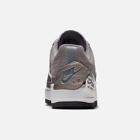 Back view of Women's Nike Air Force 1 Jester Low Casual Shoes in Gunsmoke/Metallic Pewter/Vast Grey