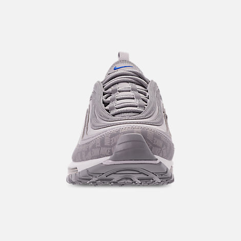 Front view of Men's Nike Air Max 97 WE Casual Shoes in Wolf Grey/Game Royal