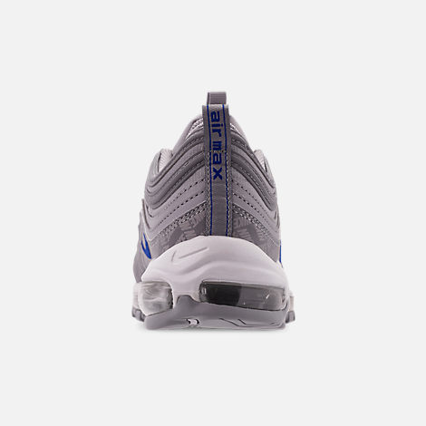 Back view of Men's Nike Air Max 97 WE Casual Shoes in Wolf Grey/Game Royal