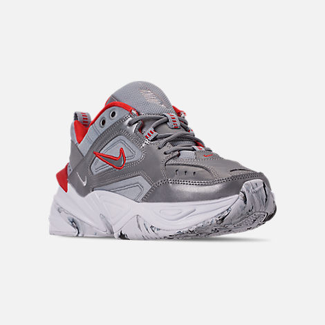 Three Quarter view of Women's Nike M2K Tekno NA Casual Shoes in Metallic Silver/Metallic Silver/White