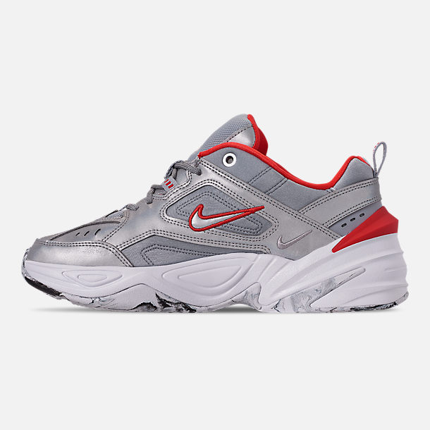 Left view of Women's Nike M2K Tekno NA Casual Shoes in Metallic Silver/Metallic Silver/White