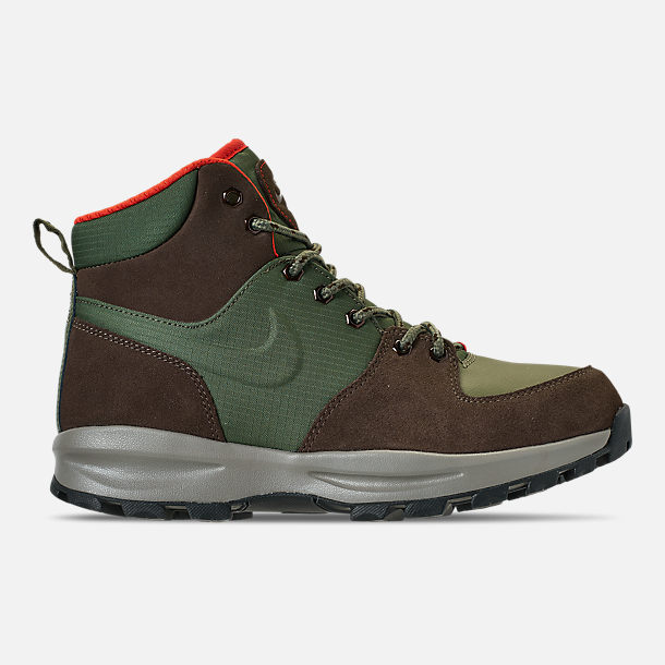 Right view of Men's Nike Manoa Leather Boots in Army Olive/Baroque Brown