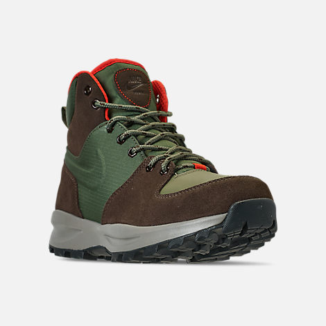 Three Quarter view of Men's Nike Manoa Leather Boots in Army Olive/Baroque Brown