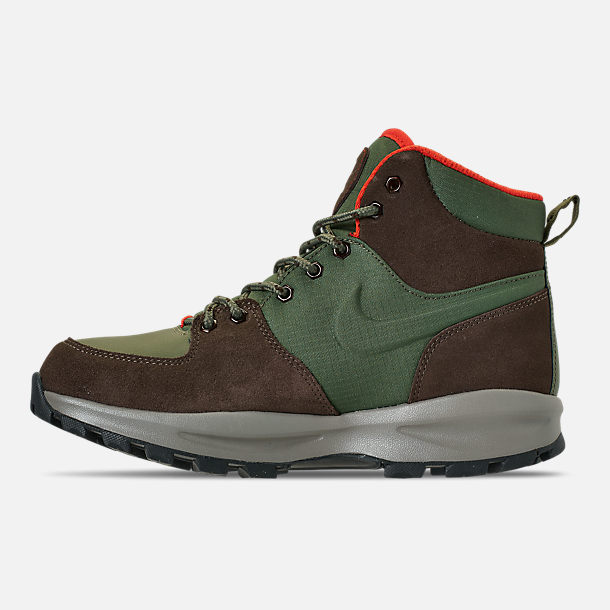 Left view of Men's Nike Manoa Leather Boots in Army Olive/Baroque Brown