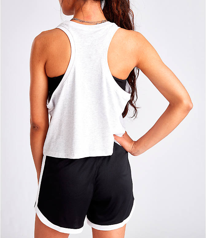 Back Left view of Women's Nike Sportswear Force Is Female Crop Tank in Birch Heather