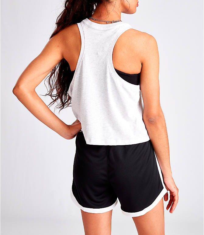 Back Right view of Women's Nike Sportswear Force Is Female Crop Tank in Birch Heather