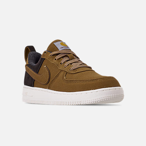Three Quarter view of Boys' Little Kids' Nike Air Force 1 '07 Premium x Carhartt WIP Casual Shoes in Ale Brown/Ale Brown/Sail