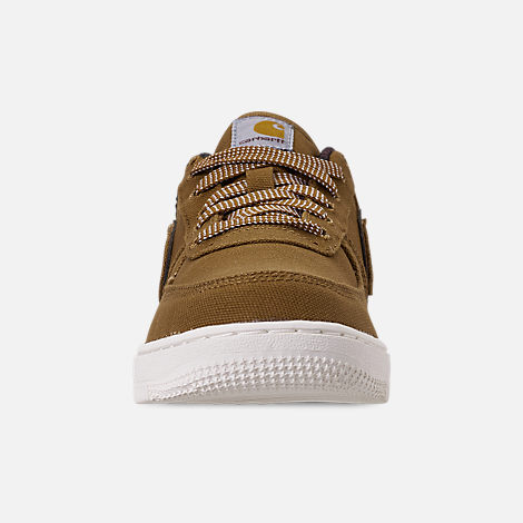 Front view of Boys' Little Kids' Nike Air Force 1 '07 Premium x Carhartt WIP Casual Shoes in Ale Brown/Ale Brown/Sail