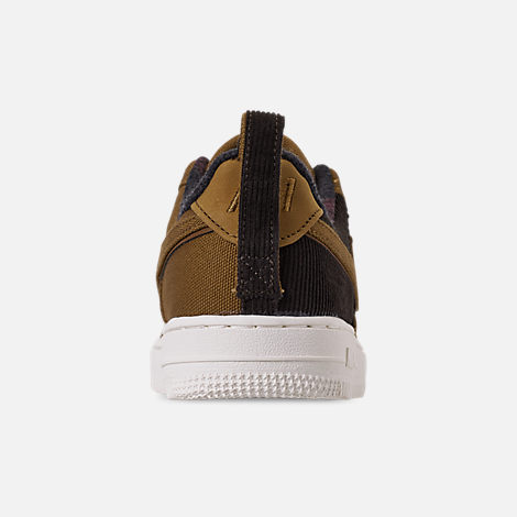 Back view of Boys' Little Kids' Nike Air Force 1 '07 Premium x Carhartt WIP Casual Shoes in Ale Brown/Ale Brown/Sail
