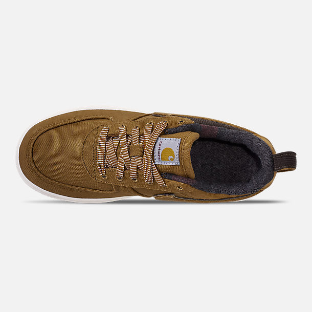 Top view of Boys' Little Kids' Nike Air Force 1 '07 Premium x Carhartt WIP Casual Shoes in Ale Brown/Ale Brown/Sail