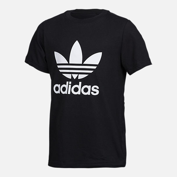 Front view of Boys' adidas Originals Trefoil Allover Print T-Shirt in Black/White