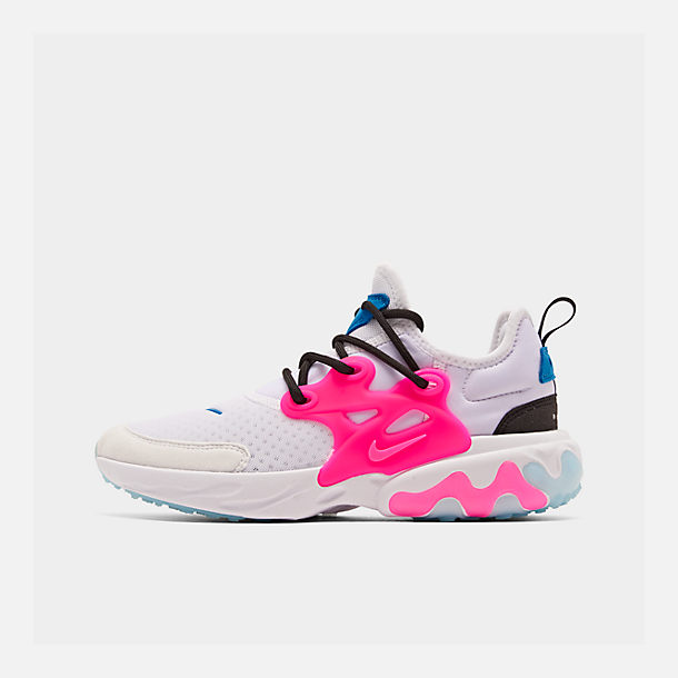 Right view of Girls' Big Kids' Nike React Presto Running Shoes in White/Hyper Pink/Photo Blue/Black