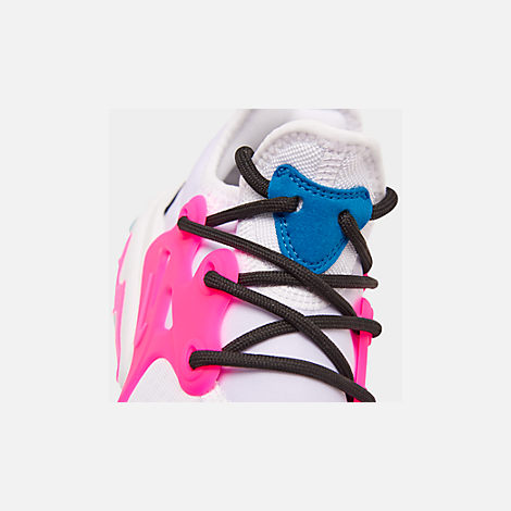 Front view of Girls' Big Kids' Nike React Presto Running Shoes in White/Hyper Pink/Photo Blue/Black