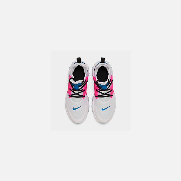 Back view of Girls' Big Kids' Nike React Presto Running Shoes in White/Hyper Pink/Photo Blue/Black