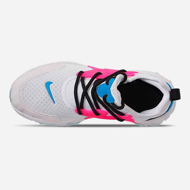Top view of Girls' Big Kids' Nike React Presto Running Shoes in White/Hyper Pink/Photo Blue/Black