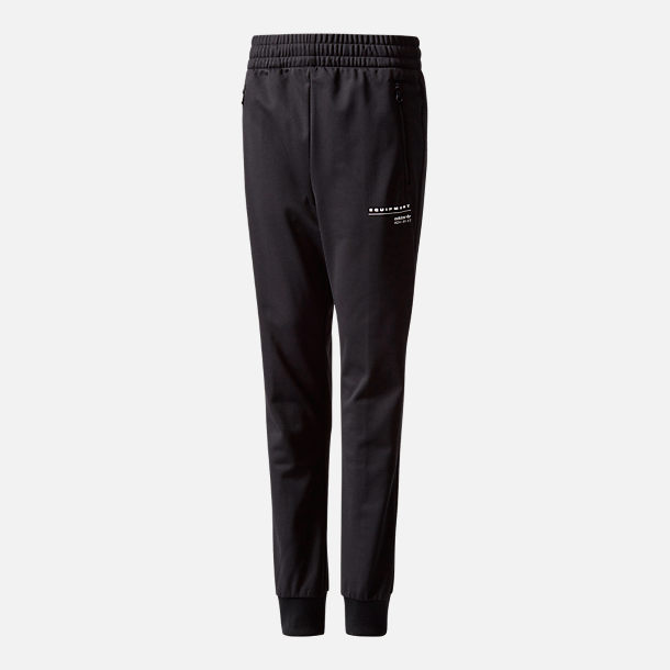 Front view of Boys' adidas Originals EQT Tiro Pants in Black