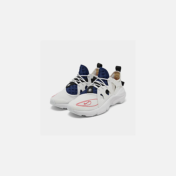 Three Quarter view of Men's Nike Huarache Type Running Shoes in Summit White/University Red/Deep Royal