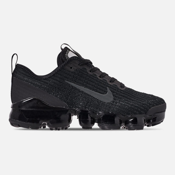 Right view of Big Kids' Nike Air VaporMax Flyknit 3 Running Shoes in Black/Anthracite/White/Metallic Silver