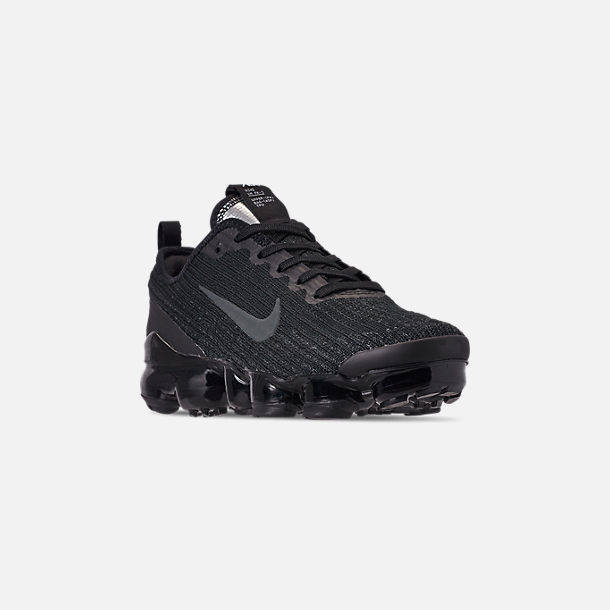 Three Quarter view of Big Kids' Nike Air VaporMax Flyknit 3 Running Shoes in Black/Anthracite/White/Metallic Silver