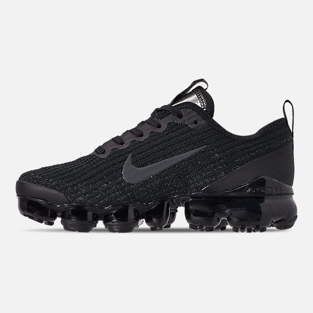 Left view of Big Kids' Nike Air VaporMax Flyknit 3 Running Shoes in Black/Anthracite/White/Metallic Silver