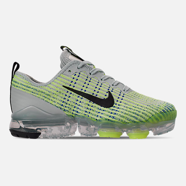 Right view of Big Kids' Nike Air VaporMax Flyknit 3 Running Shoes in Light Silver/Black/Volt Glow/Game R