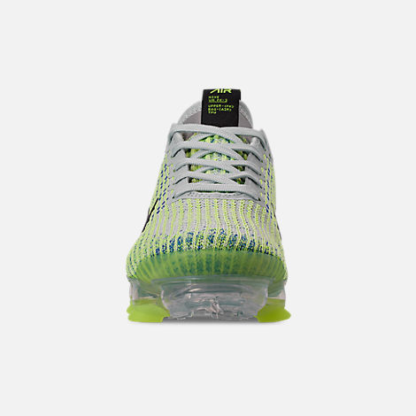 Front view of Big Kids' Nike Air VaporMax Flyknit 3 Running Shoes in Light Silver/Black/Volt Glow/Game R