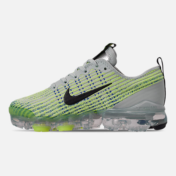 Left view of Big Kids' Nike Air VaporMax Flyknit 3 Running Shoes in Light Silver/Black/Volt Glow/Game R