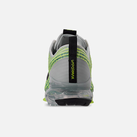 Back view of Big Kids' Nike Air VaporMax Flyknit 3 Running Shoes in Light Silver/Black/Volt Glow/Game R