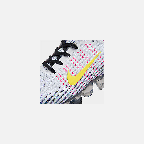Front view of Big Kids' Nike Air VaporMax Flyknit 3 Running Shoes in White/Dynamic Yellow/Hyper Turquoise