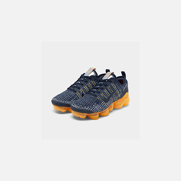 Three Quarter view of Big Kids' Nike Air VaporMax Flyknit 3 Running Shoes in College Navy/College Navy-Wolf Grey