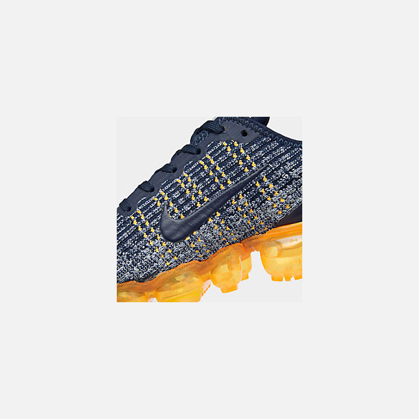 Front view of Big Kids' Nike Air VaporMax Flyknit 3 Running Shoes in College Navy/College Navy-Wolf Grey