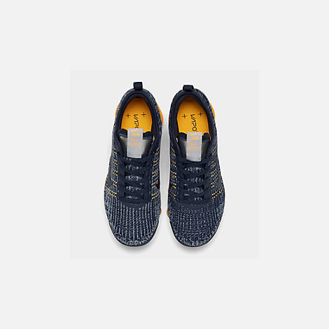 Back view of Big Kids' Nike Air VaporMax Flyknit 3 Running Shoes in College Navy/College Navy-Wolf Grey