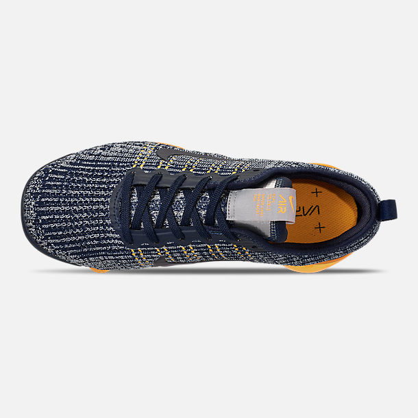 Top view of Big Kids' Nike Air VaporMax Flyknit 3 Running Shoes in College Navy/College Navy-Wolf Grey
