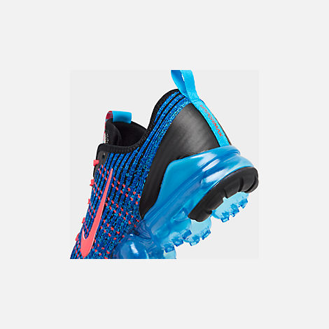 Front view of Big Kids' Nike Air VaporMax Flyknit 3 Running Shoes in Blue Fury/Flash Crimson/Racer Blue