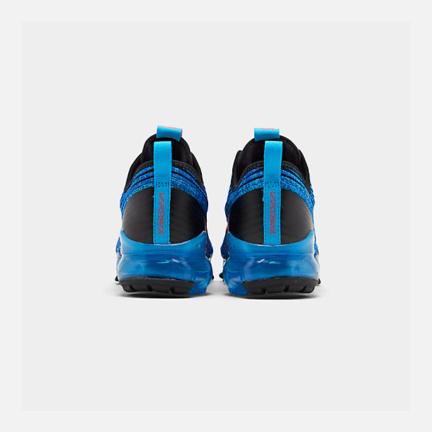 Left view of Big Kids' Nike Air VaporMax Flyknit 3 Running Shoes in Blue Fury/Flash Crimson/Racer Blue