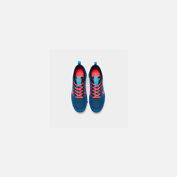 Back view of Big Kids' Nike Air VaporMax Flyknit 3 Running Shoes in Blue Fury/Flash Crimson/Racer Blue