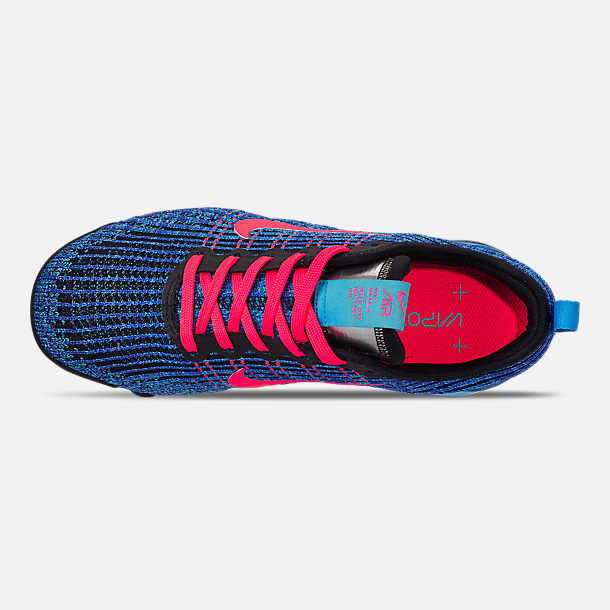Top view of Big Kids' Nike Air VaporMax Flyknit 3 Running Shoes in Blue Fury/Flash Crimson/Racer Blue